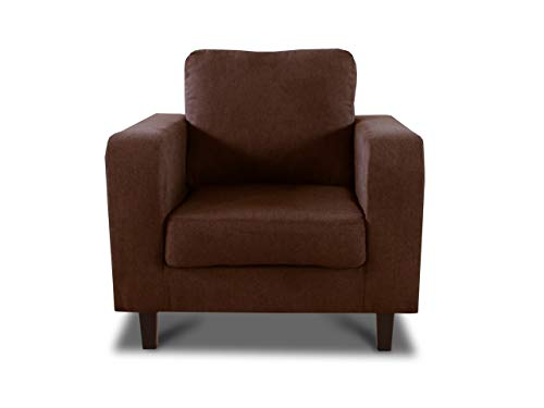 Sessel Kera - Couch, Couchsessel, Loungesessel, Stühl, Holzfüße, Velours Stoff, Couchgarnitur (Braun (Cosmic 70))