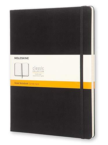Moleskine Notebook Classic- Copertina Rigida - Taccuino a Pagine Rigate, X-Large, Nero