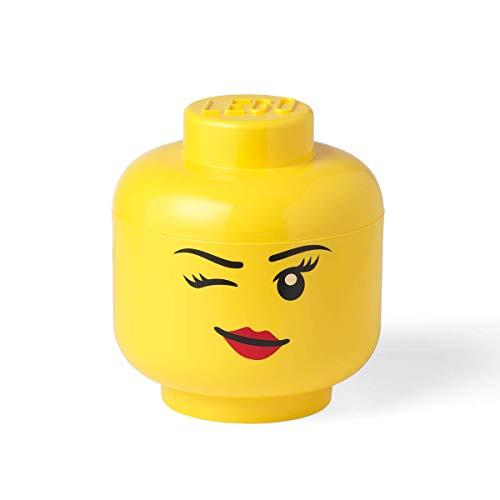 LEGO Cabeza Almacenaje L Chica Guiñando un ojo-#40321727, Color amarillo, grande (Room Copenhagen