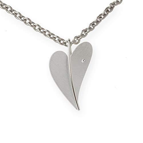 Ernstes Design Anhänger AN279 Herz aus Edelstahl Brillant 0,016 13 mm Diamant