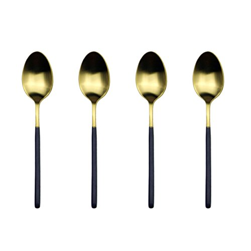 JANKNG 4 Piece 18/10 Stainless Steel Teaspoon, Black Handle Matte Gold