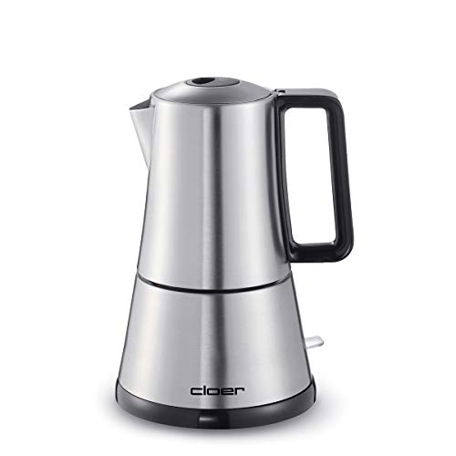 Cloer 5918 Espressokocher elektrisch, 3-4 Tassen, Edelstahleinsatz, Sicherheitsabschaltung, Sicherheitsventil, An-/Ausschalter, 365 W, Edelstahl