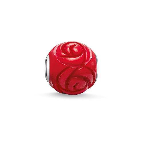 Preisvergleich Produktbild Thomas Sabo Damen Herren-Bead Rose Karma Beads 925 Sterling Silber behandelte Bambuskoralle rot K0038-590-10