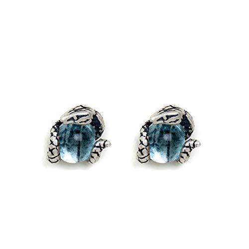 S925 plata esterlina serpiente azul claro topacio pendientes anti alergia nuevo creativo pendientes de diseño de moda joyería para hombres y mujeres estilo punk