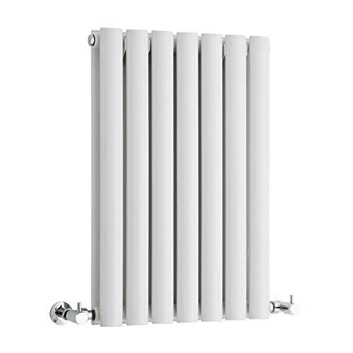 Ontwerper Radiator 600 x 413mm Dubbele Ovaal Panel Kolom Wit Centrale Verwarming Radiator Laag Koolstofstaal Bouw Muur Gemonteerd Horizontale Warmer voor Woonkamer Slaapkamer