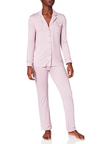 Women' Secret Pijama Camisero Rayas Punto, Rosa, S para Mujer