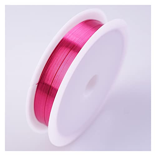 ETXP copper beading wire, Colorful Copper Wire For For Bracelet Jewelry DIY Accessories Craft Beading Wire for Bracelet Jewelry Making (Color : Rose red, Size : 0.8mm)
