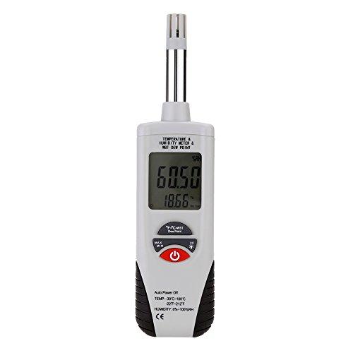 Mengshen Medidor digital de humedad y temperatura. Termómetro e higrómetro multifunción, con bulbo húmedo / punto de rocío, para uso diario e Industray, HT-350