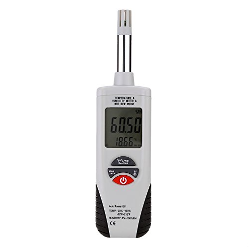Mengshen Digital Psychrometer - Handheld Backlight Temperature Humidity Meter Gauge with Dew Point and Wet Bulb Temperature - Battery Included, M350