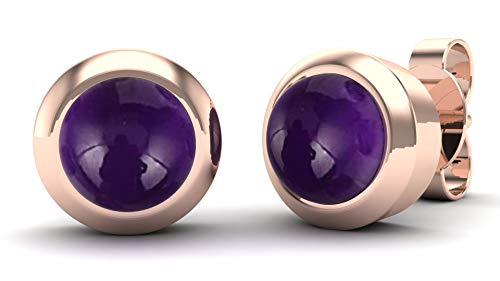 Gemshiner Purple Amethyst Round Stud Earrings with 925 Sterling Silver with 14CT Rose Gold Plated for Women and Girls