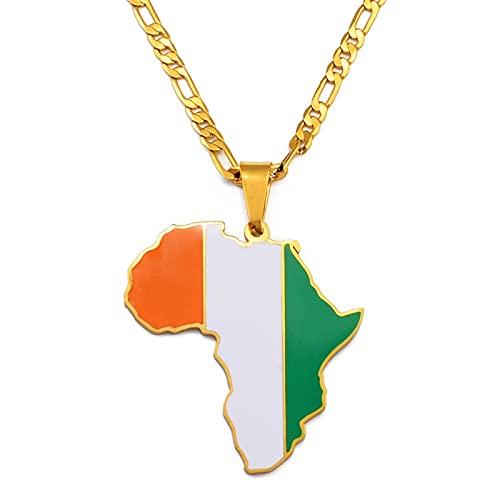 LIUZIXI Collar con Colgante De Mapa De África - Encanto De Moda African Cote Dlvoire Country Maps Colgante De Bandera Nacional - para Mujeres Hombres Hip Hop Amistad Joyería Étnica Regalo De Aniv