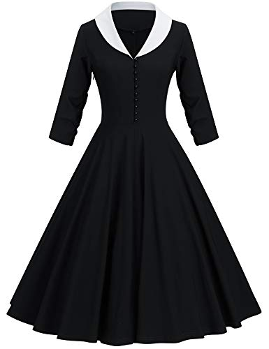 GownTown Womens 1950s Cape Collar Vintage Swing Stretchy Dresses, Black, X-Large