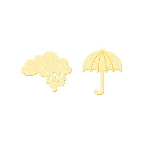 Pendientes asimétricos de nube de trueno y paraguas para mujeres y niñas, acero inoxidable, color dorado, pequeños pendientes, joyería de moda, color dorado, China