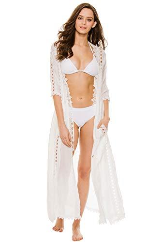 Elan Women's Wovens Crochet Long Cover Kimono Swim Cover Up White M