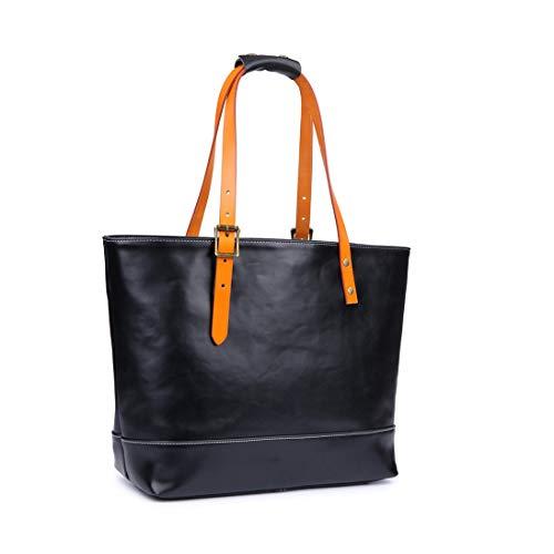 Creator屋本舗 トートバッグ ビジネスバッグ栃木レザ- 革 本革 レディーズ メンズ 2way ハンドメイド 鞄 黒 2色 (黒)
