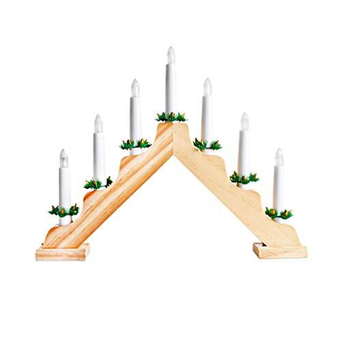 Festiva de Madera Clara Luminoso LED Candle Holder-Triangular Caja de batería Arco Luz Decoración de Navidad Decoración-Vela en Forma de Decoraciones navideñas (Color : Wood Color)