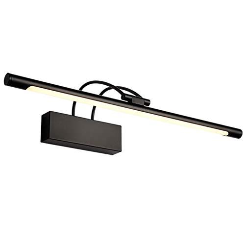 XFXDBT Spiegel Frontlicht LED 14w Schwarz,trendiger Bilderleuchte 180° Drehbar Wasserdicht IP44 Wandleuchte Badlampe-warm Weiß 65cm-14w