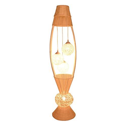 LEZDPP Sudeste de Asia Rattan Lámpara Salón Dormitorio Estudio Hotel Creativo Caliente romántica Pastoral Lámpara de pie Japonesa