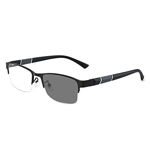 EYEphd 2021 Gafas de Lectura de Hyperopía Photocromic Smart, 1,56 Gafas de Sol Anti-Ultravioleta de Lente Resina Alta definición /UV400 Ampliación +0.75 a +3,Negro,+1.5