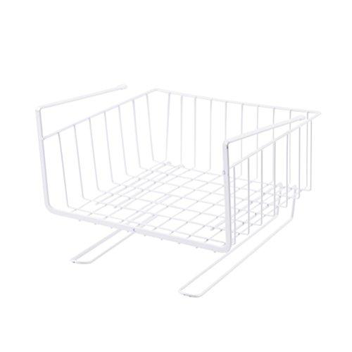 Rojeam Cesto Cucina in Metallo da Appendere alla Base della mensola Cestello sottoripiano per Cucina, armadi, scaffali, mobiletti