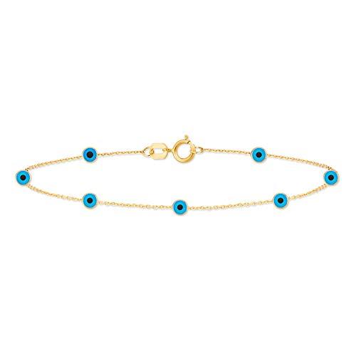 Gelin - Pulsera ajustable de oro macizo de 14 quilates, 0,03 ct con diamante genuino de lágrima, para mujer
