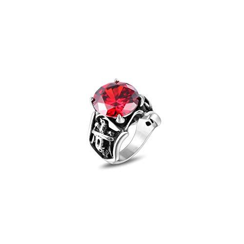CRYPIN Anillo de rubí dominante Retro par Anillo de Acero de Titanio