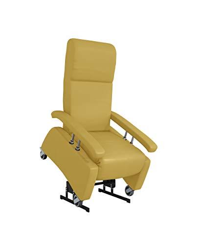 DEVITA - Pflegesessel LUTRA Lift Easy 2 mit Aufstehhilfe bis 140 kg Rollen, Schiebegriff, versenkbare Armlehnen und verstellbarer Rückenlehne - Aufstehsessel, Fernsehsessel, Relaxsessel - mit Netzstecker und Akku- camel Hygiene-Leder