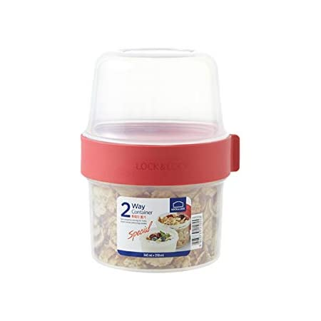 Lock & Lock Two-Way Plastic Cereal To Go Cups - Small Lunch Box with Screw Lid and Two Containers - 360ml & 310ml