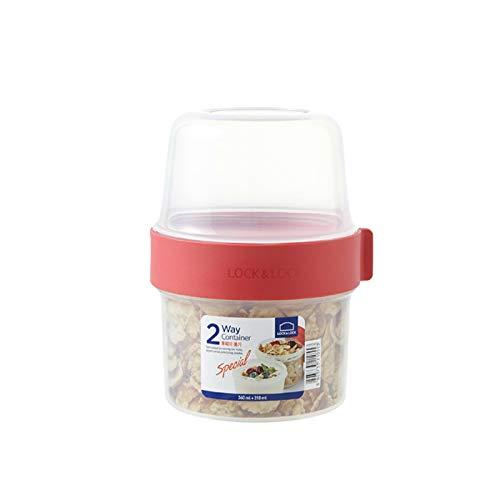 LOCK & LOCK TWO-WAY - Vaso de plástico para cereales para llevar – Pequeña fiambrera con tapa de rosca y dos recipientes – 360 ml y 310 ml