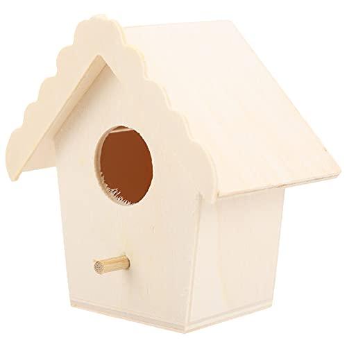 01 Casetta per Uccelli in Legno Fatta a Mano, casetta per Uccelli in Legno Fai da Te Naturale Pura ventilata per Giardinaggio all'aperto per casa per Decorazione di Interni(Gronda di Pizzo n. 4, Blu)