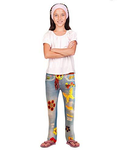 Folat 29150 - Jeans Leggings Flower Power, One Size, grijs