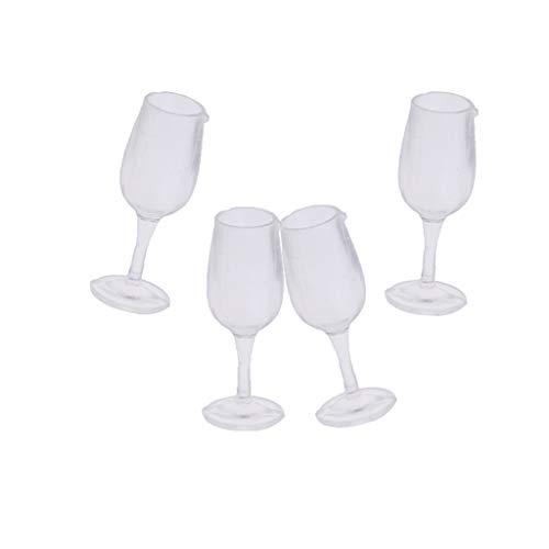 non-brand 4 Set 1/12 Copa de Vino Transparente en Miniatura Decoración para Dollhouse