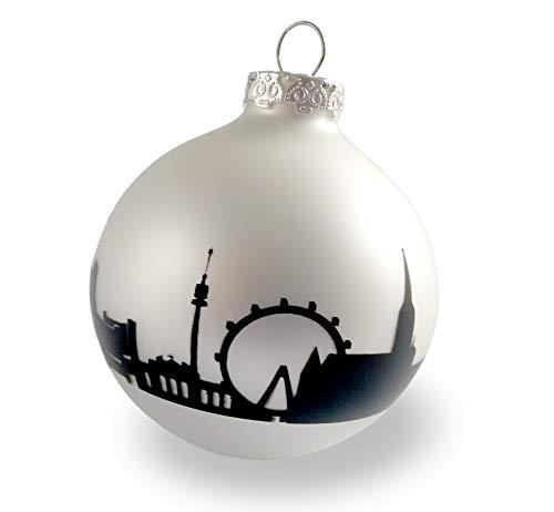 44spaces Wien - Sfera di Natale per Natale, vetro argento opaco, skyline nero, decorazione natalizia da appendere