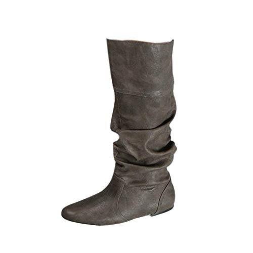 Bigtree Damen Stiefel Kniehoch Slouchy Gemütlich Flach Pull On Lange Stiefel Klassisch Western Kampfstiefel Winter Herbst Schnee Stiefel Grau