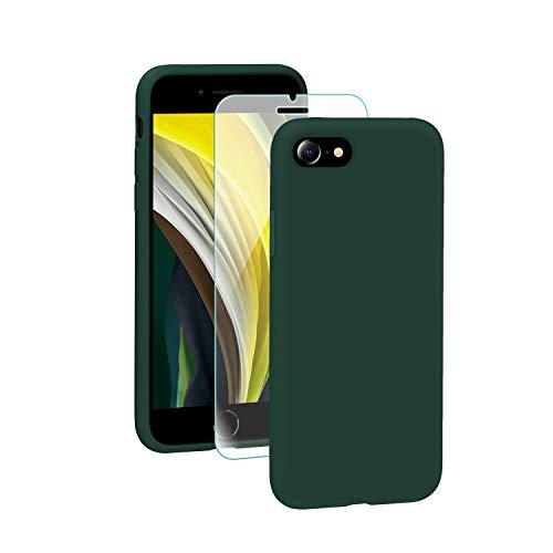 SmartDevil Funda iPhone SE 2020+Protector de Pantalla, [Totalmente Protectora] Funda de Goma de Gel de Silicona Líquida a Prueba de Golpes Suave.ELA Microfibra Funda iPhone SE-Verde Oscuro