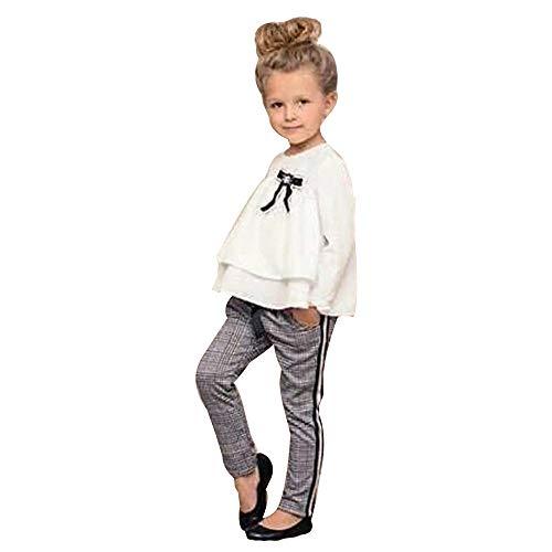 kingko 2-6 Ans Vêtements Filles Ensemble T-Shirt Manches Longues + Pantalon Manches Longues T-Shirt Jeans (2 Ans, Blanc)