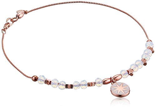 Alex and Ani Women's Star of Venus Anklet, Shiny Rose Gold,Adjustable, A19ANK01SR