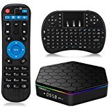 Android TV Box, Android 7.1 T95Z Plus TV Box with Amlogic S912 Octa-core 2GB DDR3 16GB Emmc Flash Support 2.4G/5G Dual WiFi Bluetooth HDMI HD 4K with Mini Wireless Keyboard Touchpad