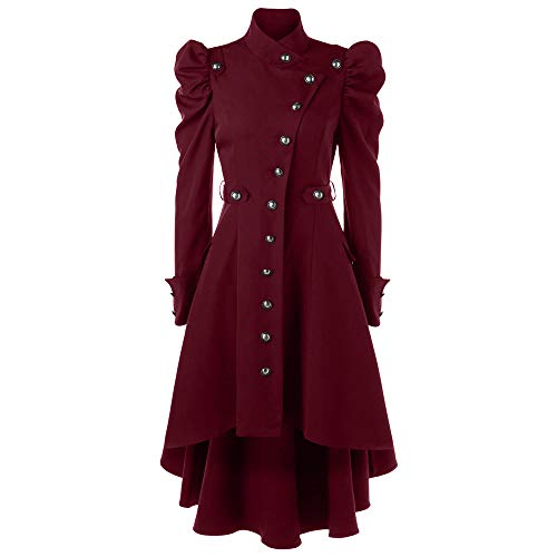 OverDose Damen Lange Jacke Anzugjacke Wintermantel Damen Vintage Steampunk Langer Mantel Gothic Mantel Damen Retro Jacke Party Jäten Elegant Cool Outwear(Rot,40 DE / 3XL CN )