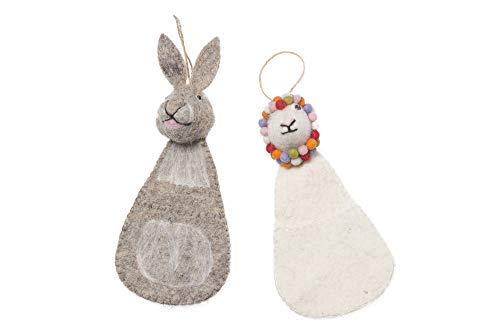 De Kulture Décoration de Jardin Faite à la Main pour Easter Bunny and Lamb 4 x 2,5 x 9 cm