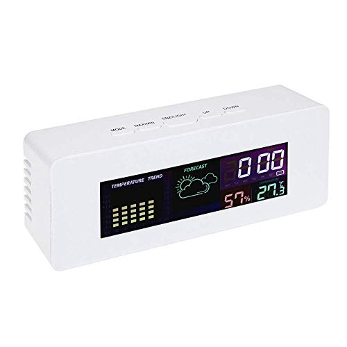 HOOBBI Wireless Temperatur-Feuchtigkeits-Uhr Multifunktions-Farbbildschirm Digitalanzeige Thermometer Hygrometer mit Wetterstation Kalender Alarm 12/24 Stunden-System