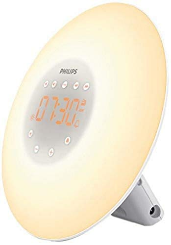 Philips Wake Up Light HF3505/01 - Despertador mcon 2 Sonidos Naturales, lámpara de Noche, Radio FM, Digital