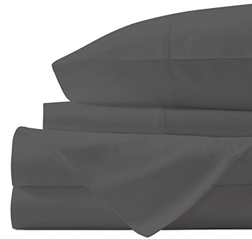 Egyptian Cotton Sheets Set - 700 Thread Count 100% Cotton King Size Sheets (4 Piece), Luxury Bed Sheets King, Deep Pocket, Soft & Silky Sateen Weave (Elephant Grey)