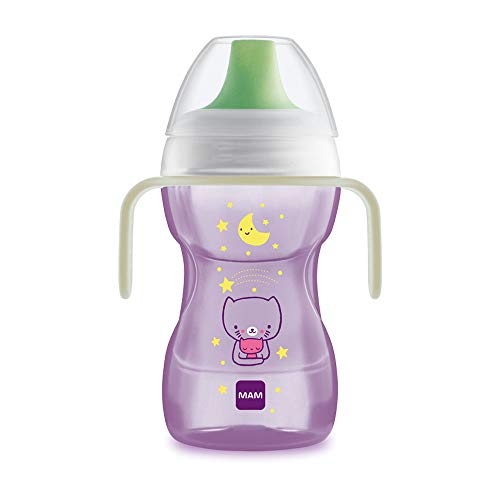 MAM Fun to Drink Cup & Glow Handles, Baby Bottle with Handles, Spill-Free Sippy Cup, Transition Drink Bottle for Babies and Toddlers, Pink