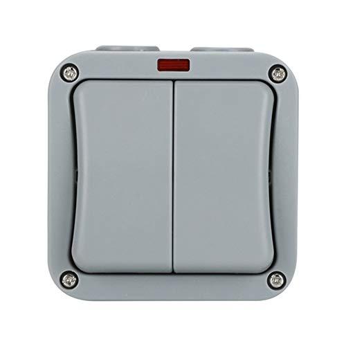 Doble interruptor de pared IP54 para ambientes húmedos, resistente al agua y al polvo, interruptor exterior, interruptor basculante para ambientes húmedos (dos controles abiertos)