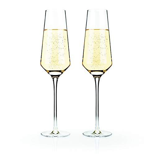 Viski 4530 Raye: Crystal Champagne Flute Set, Clear