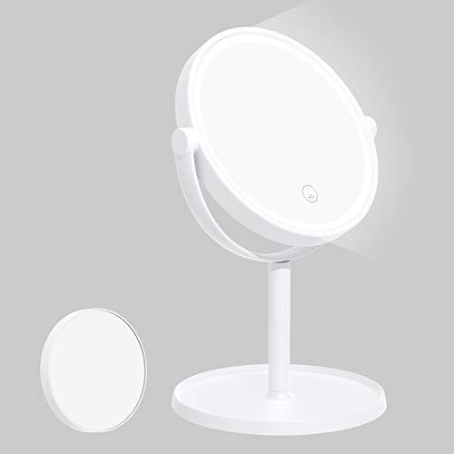 Kasimir Espejo Maquillaje con Luz LED Aumento 5X Espejo de Maquillaje Tactil Ultra Alta Definicion Profesional Espejo Cosmetico Plegable Espejos - Rotacion Ajustable de 360°blanco