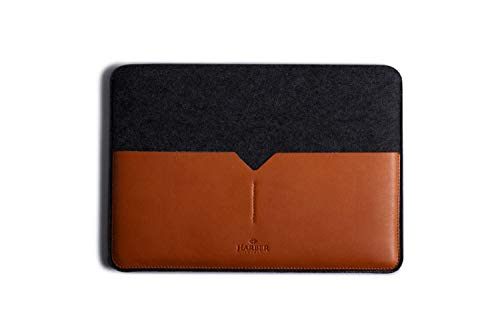 """Laptop Black Edition Leather Sleeve Handmade Case and Wool Felt Cover (Macbook Pro 16"""", Tan)"""