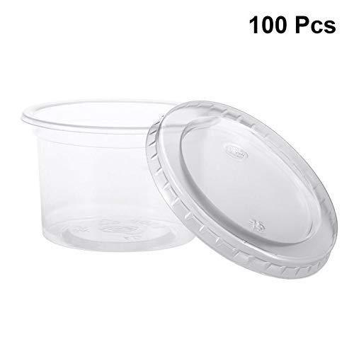 100 stks/pak 150ml Wegwerp Plastic Bekers Portie Bekers Clear Dessert Bekers Container met Deksels voor Jelly Yoghurt Mousses