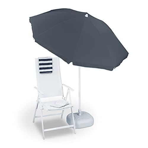 Relaxdays Sonnenschirm, Ø 180 cm, höhenverstellbar, kippbar, Balkonschirm, rund, Polyester, Stahl, Strandschirm, grau